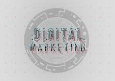 Digital-Marketing Begriffsplan mit HUD-Elementen für Druck und Netz Beschriftung mit futuristischer Benutzerschnittstelle lizenzfreie stockfotografie