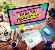 Digital-Marketing-Branding-Strategie-on-line-Werbekonzeption lizenzfreie stockbilder
