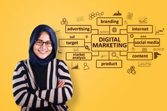 Digital Marketing Business Concept. Business concept. Asian young creative businessman smiling with Digital Marketing graphic words written on virtual screen stock images