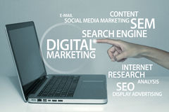 Digital Marketing. Business concept in office with laptop royalty free stock photography