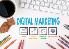 Digital Marketing, Business concept. White office desk Royalty Free Stock Photo