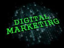 Digital Marketing. Business Concept. Digital Marketing - Business Concept. The Word in Light Green Color on Dark Digital Background Stock Photos