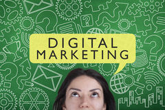 Digital Marketing. Business concept with words on chalkboard stock photo