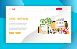 Digital marketing business landing page campaign design page website - vector illustration vector illustration