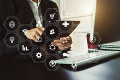 Digital marketing Business making presentation royalty free stock photography
