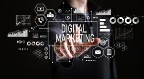 Digital Marketing with businessman stock photo