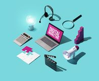 Digital marketing and communication strategies. Infographic: isometric laptop, marketing tools and concepts royalty free stock images