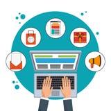 Digital marketing computer advertising network. Vector illustration eps 10 Royalty Free Stock Photo