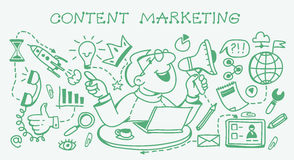 Digital marketing concept. Business concept. Marketing and sharing of digital content. Doodle set royalty free illustration