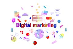 Digital Marketing Concept Business Strategy Development Banner. Vector Illustration Stock Images