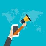 Digital marketing concept, Businessman hand holding a megaphone, vector Stock Photos
