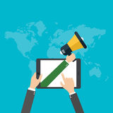 Digital marketing concept, Businessman hand holding a megaphone, vector Stock Images