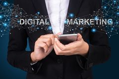 Digital Marketing concept, Businesswoman using mobile smart phone, Social, media royalty free stock images