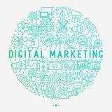 Digital marketing concept in circle royalty free illustration