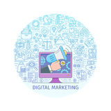 Digital marketing concept. Design template with flat line icons on theme commerce, start up, media strategy and business. Vector illustration Stock Photo