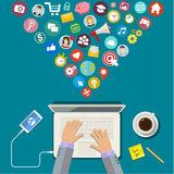 Digital Marketing concept. Flat design, vector illustration Stock Photos
