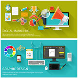 Digital marketing concept. Graphic design Royalty Free Stock Images