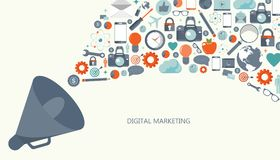 Digital marketing and advertising concept. Flat vector illustration. Royalty Free Illustration