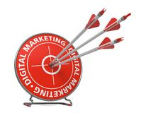 Digital Marketing Concept - Hit Target. Digital Marketing Concept. Three Arrows Hit in Red Target Stock Photos