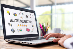 Digital Marketing Concept On Laptop Monitor royalty free stock photography