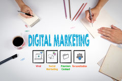 Digital Marketing Concept. The meeting at the white office table Royalty Free Stock Photos