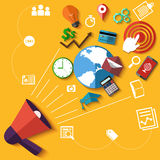 Digital marketing concept with megaphone Stock Images