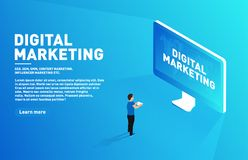 Digital marketing concept. Outbound marketing. Isometric character with tablet standing in front of the big display vector illustration
