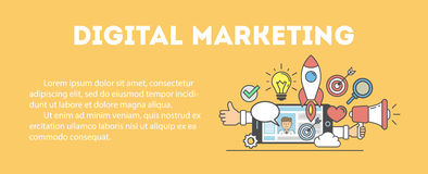 Digital marketing concept. Digital marketing concept poster. Digital design. Social network and media communication. Text template Royalty Free Stock Image