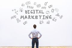 Digital marketing. Concept, promotion of business online on social networks royalty free stock image