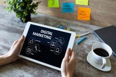Digital marketing concept on screen. Business and internet concept. stock photo