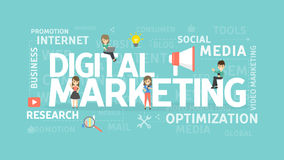 Digital marketing concept. Social media and research, optimization and internet Stock Image