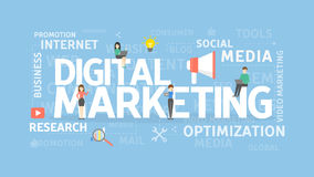 Digital marketing concept. Social media and research, optimization and internet Royalty Free Stock Photography