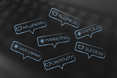 Digital marketing concepts into comment icons Royalty Free Stock Photos