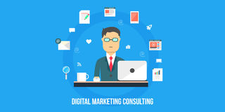Digital marketing consulting - flat design illustration, web banner. Concept of digital marketing consulting, data analysis, marketing report and strategy Royalty Free Stock Photo