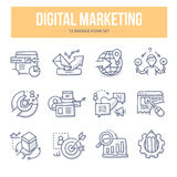 Digital Marketing Doodle Icons. Doodle  line icons of digital marketing, seo, social media, market analysis, increasing sales, creating content and new product Royalty Free Stock Photo