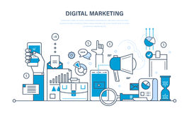 Digital marketing, finance, analysis, statistics, technology, media planning and promotion. Concept illustration - digital marketing, media planning, online Stock Photography