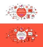 Digital-Marketing Flache Linie Farbheldbilder und Heldfahnen Lizenzfreie Stockfotografie