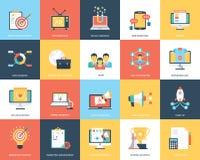 Digital-Marketing-flache Vektor-Illustrations-Sammlung Lizenzfreies Stockbild