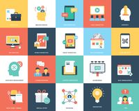 Digital-Marketing-flacher Vektor-Illustrations-Satz Stockbild