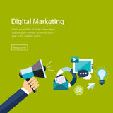 Digital marketing flat. Hand with speaker and Royalty Free Stock Image