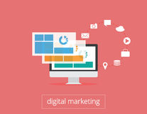 Digital marketing flat illustration monitor and icons Royalty Free Stock Image