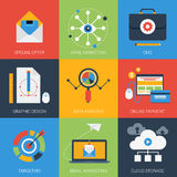 Digital marketing flat style modern icon set Royalty Free Stock Photo