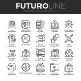 Digital Marketing Futuro Line Icons Set Royalty Free Stock Image