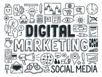 Digital-Marketing-Gekritzelelementsatz Stockbilder
