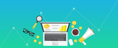 Digital marketing gradient banner. Workplace with laptop, coffee, paper, money, telephone Stock Photography