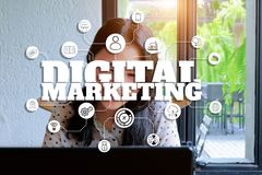 Digital marketing and graphic background. stock photos