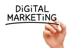 Digital Marketing. Hand writing Digital Marketing with black marker on transparent wipe board royalty free stock photos
