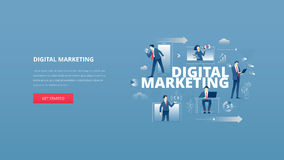 Digital marketing hero banner. Vector illustrative hero banner of digital marketing. Marketing hero website header with men and women business characters around Stock Image