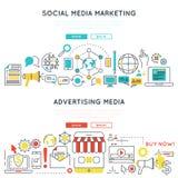Digital Marketing Horizontal Linear Banners Royalty Free Stock Photos