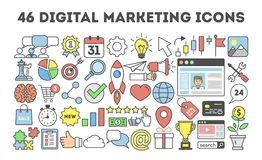 46 digital marketing icons. vector illustration